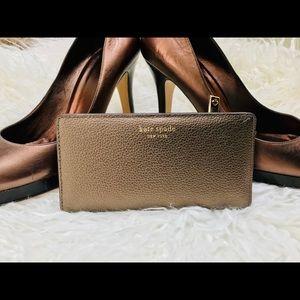 NWT Kate Spade Eva Large Slim Wallet Ash Metallic